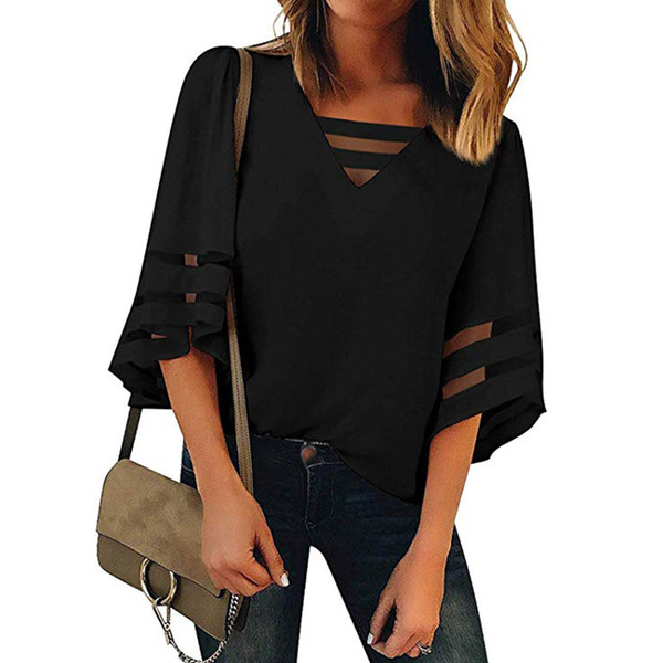 Tops Strappy Fashion Summer Mesh Women Blouse Pullover Solid Bell Sleeve Office Patchwork Casual V Neck Loose