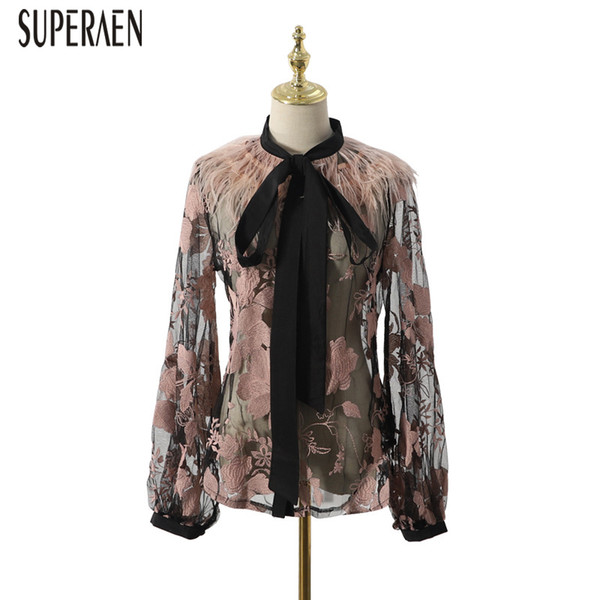 SuperAen Temperament Fashion Shirt Female 2019 Spring and Summer New Blouses and Tops Female Embroidered Long-sleeved Shirts