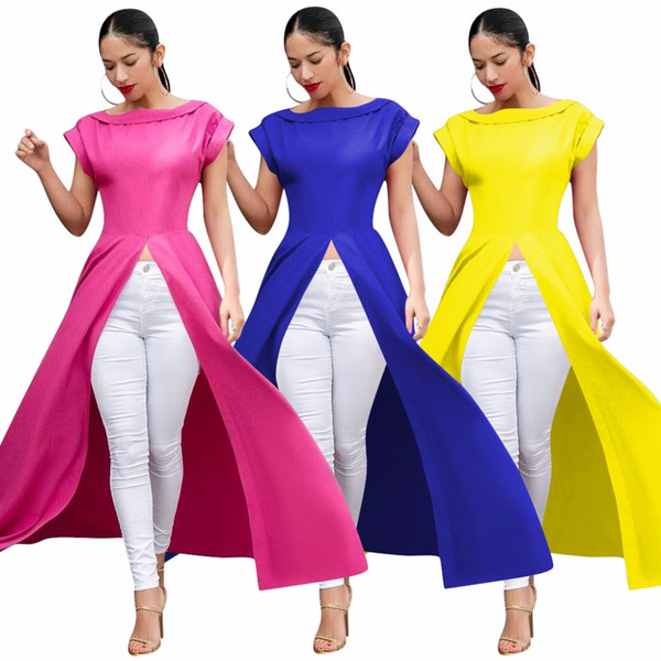Women's tops Blouses & Shirts asymmetric sexy ruffles at back round neck pink yellow blue color casual shirt for ladies