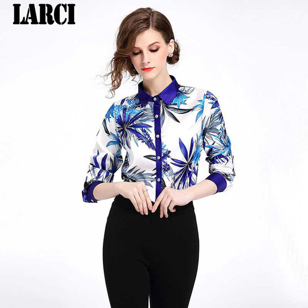 LARCI 2018 summer women vintage print shirt fashion chiffon long sleeve blouse retro casual tops plus size blusas N3615