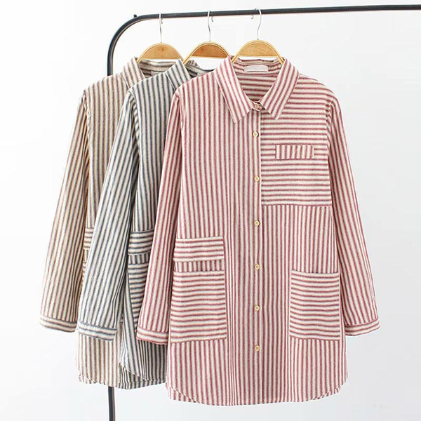 S67 Autumn Casual Blouses 4XL Plus Size Women Clothing Fashion Loose Long Sleeve Shirts 8341