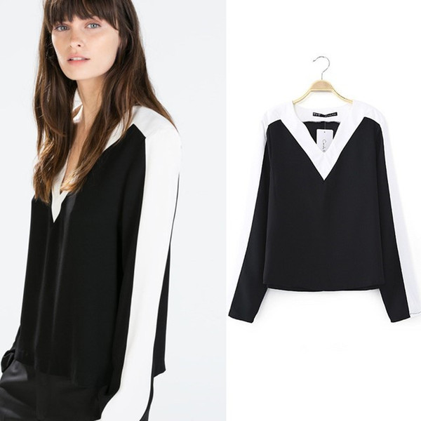 New Fashion Women Clothes Casual Black White Blouses Vintage Sexy V Neck Long Sleeve Women Tops Polyester Autumn Ladies' Shirt