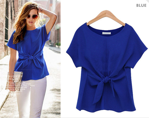 2016 Fashion Women Summer Clothes Sexy Blouses O-Neck Short Sleeve Shirts Bow Chiffon Casual Vintage Tops Plus Size XXXXL Blusas Blouse