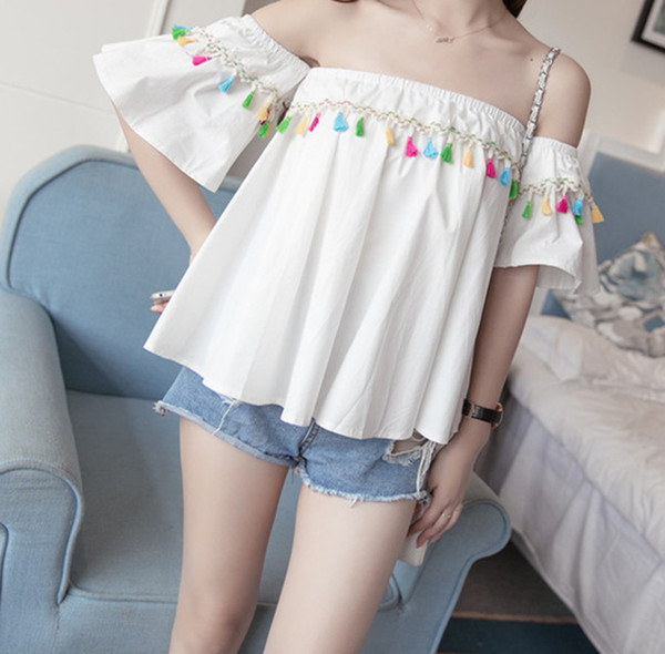 New Arrival Off The Shoulder Fringed Blouse For Women Tops Fashion Summer Colorful tassels Slash Neck Flare Sleeve Blouses