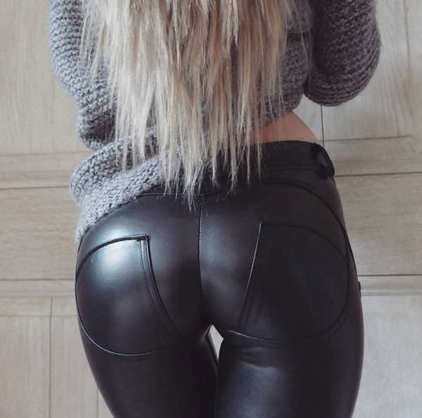 50pcs Faux Leather Thickening PU Elastic Shaping Hip Push Up Pants Black Sexy Leggings for Women Jegging Gothic Leggins Autumn Winter AP190