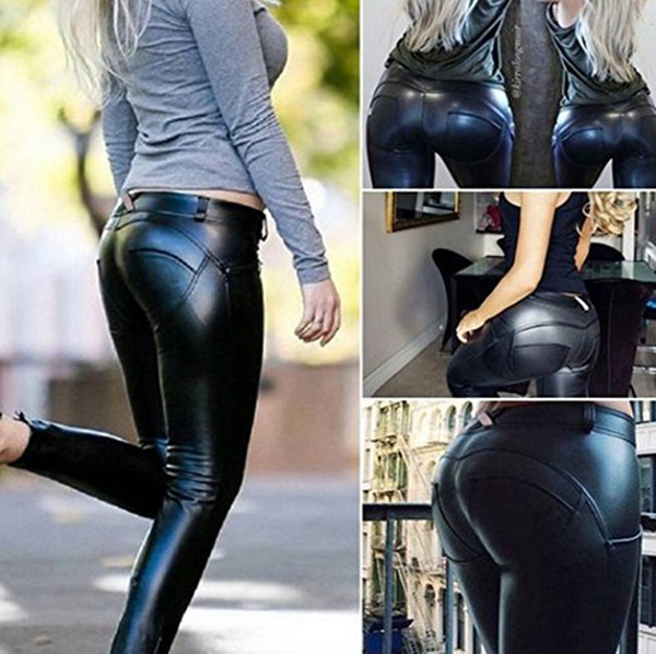 200pcs Women Pu Leather Leggings Hip Push-Up Fitness Skinny Trousers Women Sportings Sexy Yuga Leggins Pants Leather Legging AP190