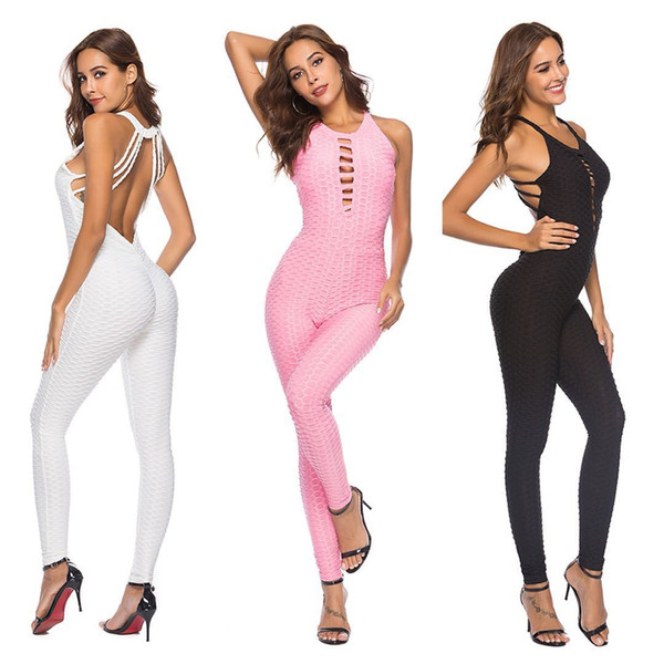 2018 cross-border hot sale new explosion models sexy backless one-piece yoga pants hip exercise fitness pants women