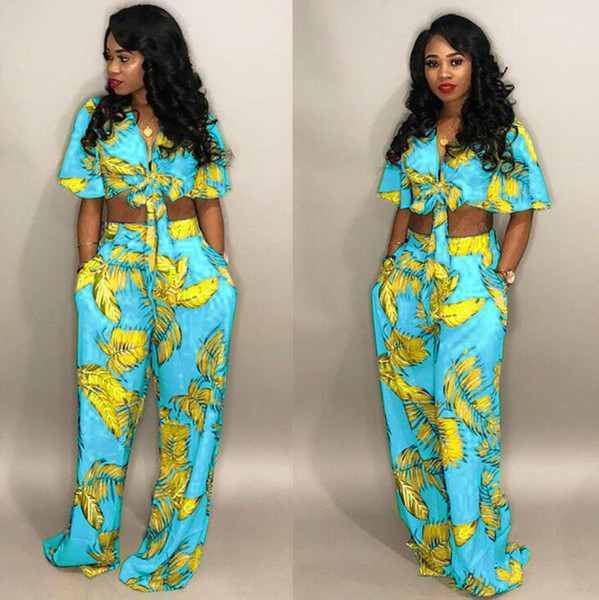 Sexy Two Piece Set Women Outfits Bow Tie Tops+Wide Leg Pants Suits Casual Clothes Floral Print Matching Sets