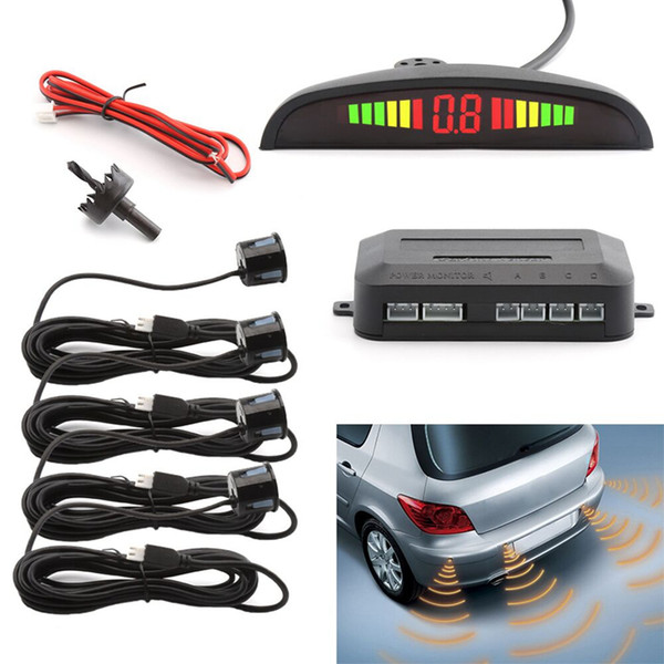 Car LED Parking Sensor Assistance Reverse Backup Radar Monitor System Backlight Display+4 Sensors car Alarm & Security GGA265 50PCS