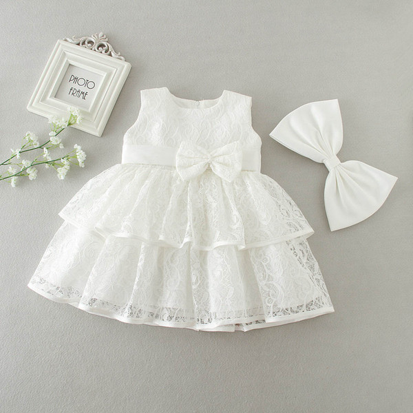 3 to 24 months baby flower Girl bows lace dresses, summer white/red kids clothes, lovely retail wedding/Christmas clothing, R1AM710DS-02