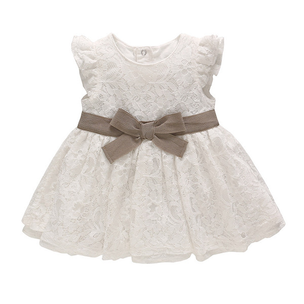 Infants Baby Skirt 2019 Summer Children's Dress White Lace Bow Sweet Children Princess Dress Girl's Sleeveless Boat Neck A-Line Dress