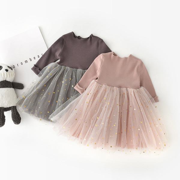 children's cloth the new children's princess dress Korean children's Patchwork Tulle star mesh long sleeve girl's skirt