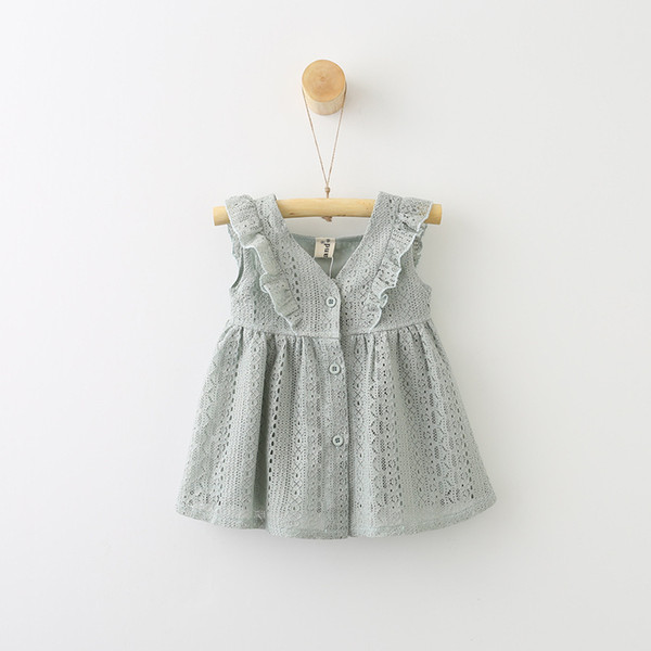 Ins Girl Princess Dress Lace Ruffled Buckle Baby Sleeveless Skirt Tutu Dress V-Neck A-Line Princess Dress