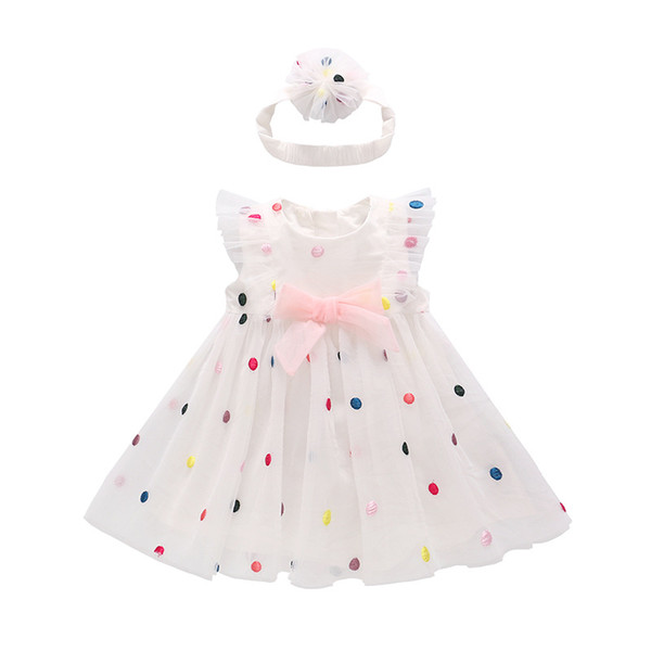 Children's Clothing Kid Dress Summer New Children's Dress Color Princess Dot Organza Skirt Baby Girl's Dress and Headband Set