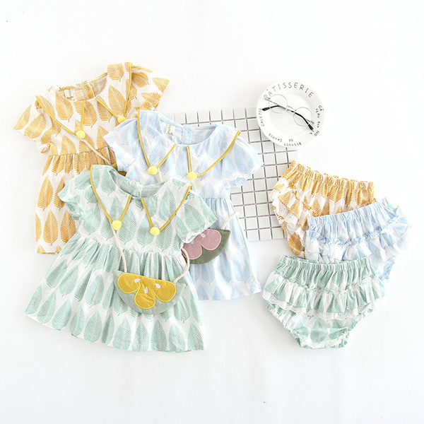 Children's Short-sleeved Suit 2019 Girl's Three-piece Suit Full of Leaves Short-sleeved Dress+Big Pp Pants +bag Suit Baby Dress