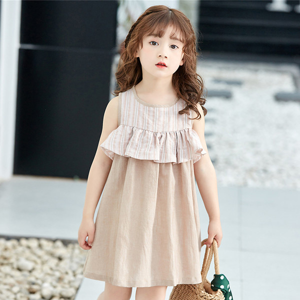A-Line Beach Children's Dress Cute Cotton and linen Striped Solid Color Sleeveless Contrast Color Princess Dress Girls Falbala Skirt
