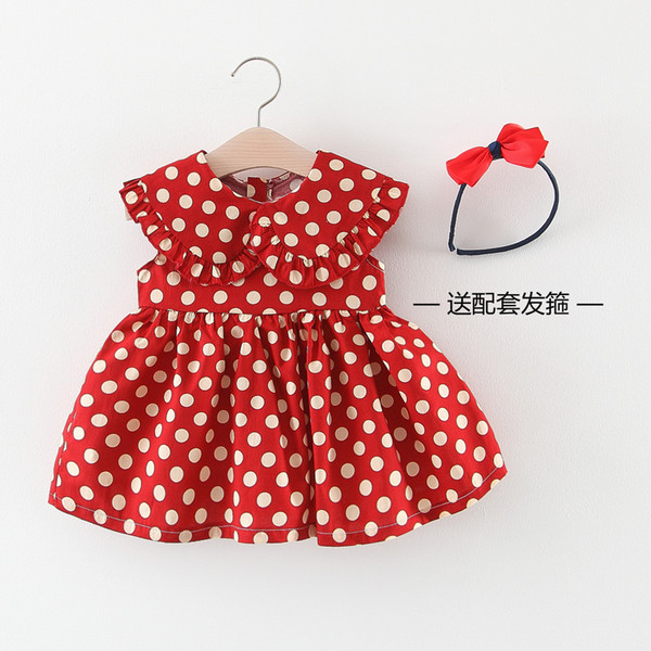 Children's Polka Dot Skirt Chiffon Sleeveless Princess Dress Girls Boat Turn-down Collar Preppy Style Knee-Length Skirt with Headclasp