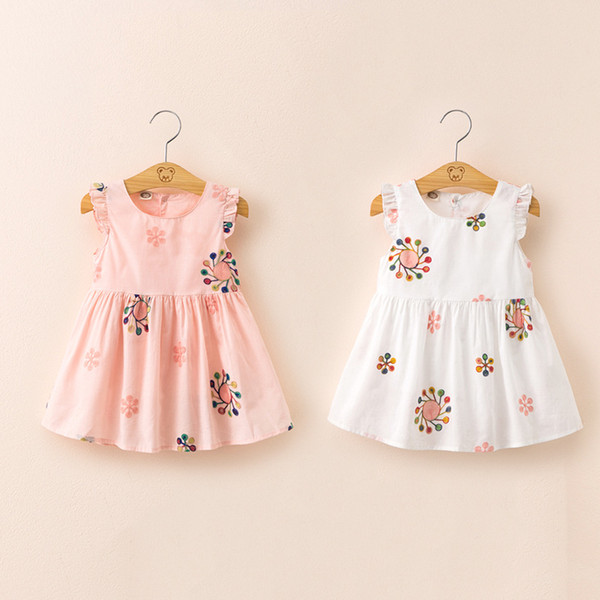 2019 girls' new clothes summer embroidered brief dress children's cute princess dress little girl vest dress