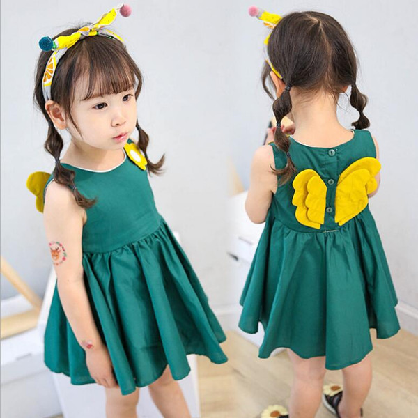 INS Korean new children's skirts girl's princess dress fashion wings girls sleeveless dress boat neck skirt