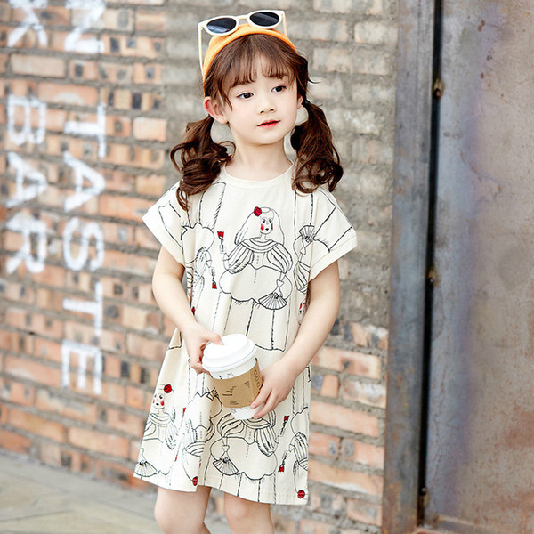 Abstract Painting Children's Dress 2019 Summer New Cotton Short Cap Sleeve A-line Beach Girl's Skirt Kid's Dress