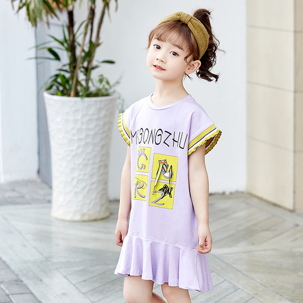 Summer New 2019 Abstract Long T-shirt Cotton Children's Short-sleeved Dress Girl's Casual Brief Skirt Letter Printed Dress