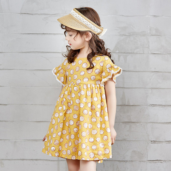 Summer Children's Brief Cute Casual Dress Cotton Girl's Flare Sleeve Dress Flora Printed A-Line Boat Neck Short-sleeve Girl's Skirt