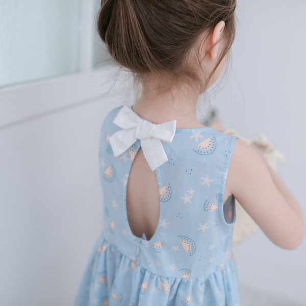 Children's Clothing New 2019 Small and Medium Baby Girl's Sleeveless Skirt Floral Printed Summer Girl's Bow Backless Dress