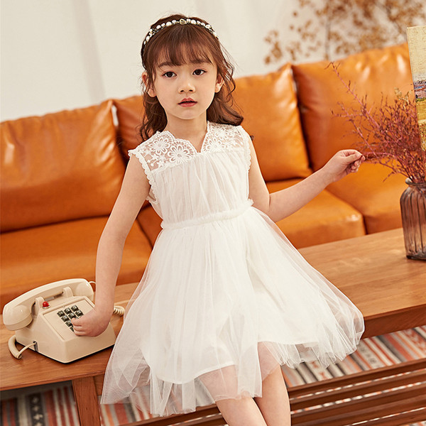 2019 Summer New Sleeveless Lace Mesh Girls Dress Children's Solid Color A-line Princess Dress Kid's Ball Gown