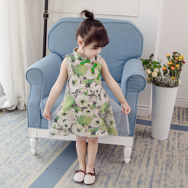 2019 Summer New Children's Clothing Girls Mesh Cheongsam Dress Kid's Chinese Style Costume Girls Newfashioned Tang Suit