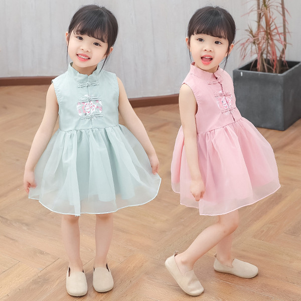 Girls dress 2019 summer new children's female vintage sleeveless skirt Chinese Style Embroidered Cheongsam dress