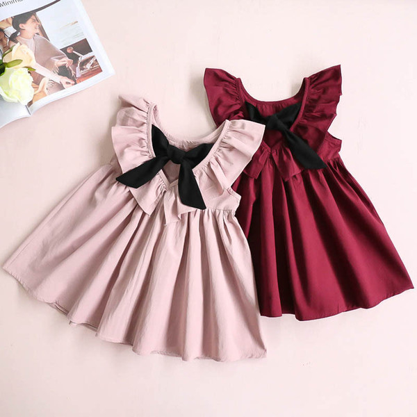 2019 Summer Lolita Style Children's Clothing New Baby Girls Bow Pleated Backless Skirt Sleeveless A-Line Skirt Princess Dress