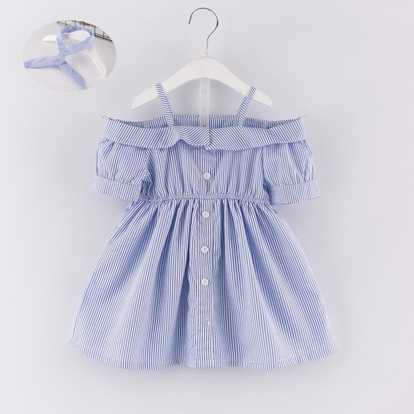 2019 summer girls blue white striped strapless dress children's horizontal neck waist short-sleeved skirt with headband dress set