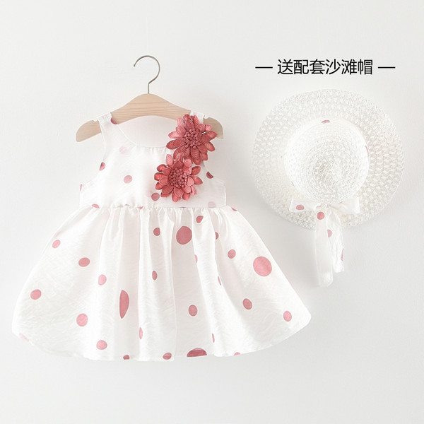 Children's Wear Girls Summer Clothes Dot Flowers Dress Sleeveless Children's Beach Skirt with Straw Hat