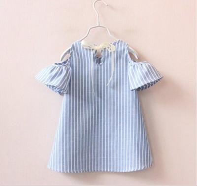 Small and Medium Girls Vertical Striped Dress Off-the-shoulder Girls Dress Children's Strapless Flare Sleeve A-line Skirt