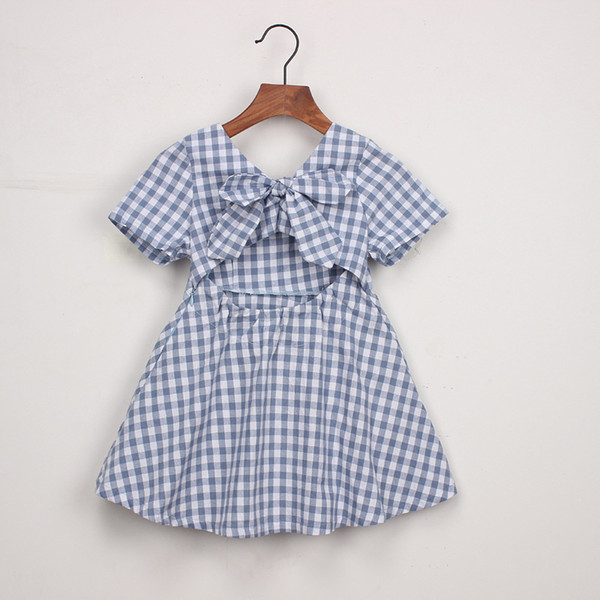 Europe and The United States Children's Clothing 2019 Summer New Girls Plaid Halter Dress Baby Bow Backless Children's A-line Skirt