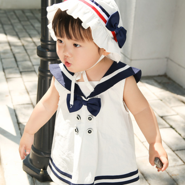 2019 Spring and Summer Infants and Young Children Preppy Style Dress Baby Sailor Suit Cotton Girls Princess Skirt with Hat
