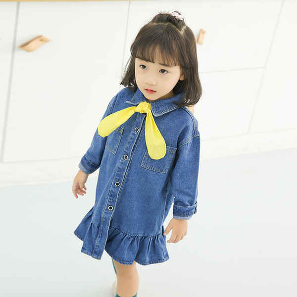 Children's dress Slim soft female baby Korean denim skirt girl's flouncing bow skirts long sleeve denim dress