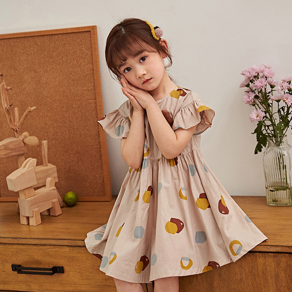 Summer Color Printing Flora Children's Pleated Dress Short-sleeved Girls Dress Kid's Flare Sleeve Skirt Children's Clothing