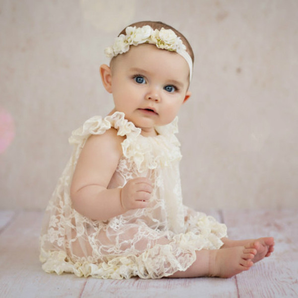 European & American Style Newborn Vintage Lace Dress Baby Dress Ruffled Lace princess Skirt photography props