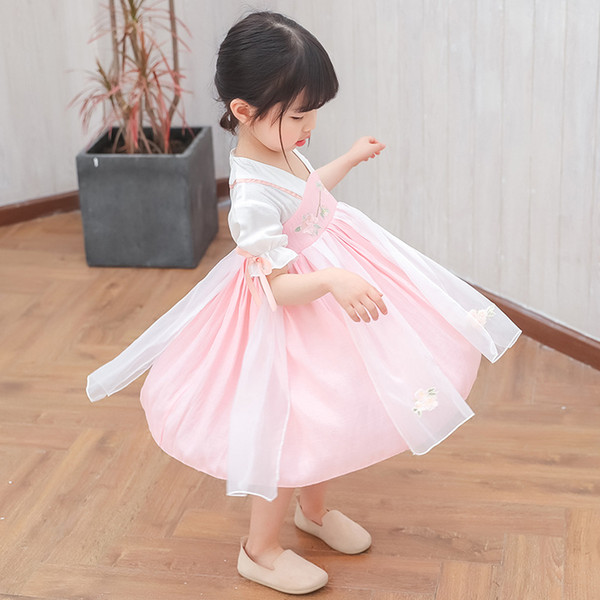 Girls Cheongsam Dress Children's Clothing Super Fairy Baby Petal Sleeve Costume Hanfu Skirt Kid's Chinese Style Contrast Color Dress