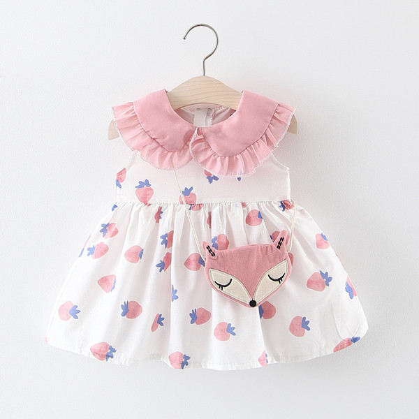 Girls Summer Dress 0-4 Years Old Baby Princess Dress Cotton Female Baby Strawberry Sleeveless Skirt with Fox Bag Dress and Bag Suit