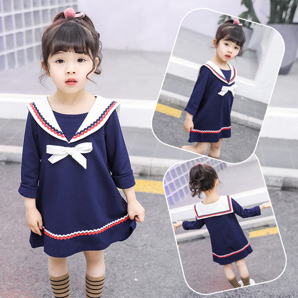2019 spring and autumn new navy girl dress cotton Korean children's princess skirt children's long sleeve cute skirt preppy style dress