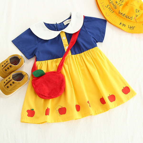 Children's Clothing Girls Summer New Princess Apple Print Short-sleeve Dress with An Apple Bag Baby Lolita Style Contrast Color Skirt