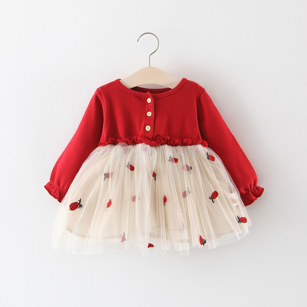 2019 Spring and Autumn New Children's Skirts Pineapple Mesh Girls Flare Sleeve Dresses Children's Long-sleeved Patchwork Skirts
