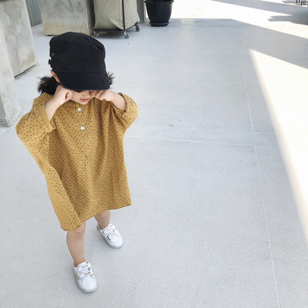 Long Sleeve Girl Short In The Front But Long In The Back Floral Skirt Irregular Skirt Children's Long Sleeve Batwing Sleeve Dress
