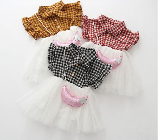 2019 Summer Girls Baby Plaid Flying Sleeve Veil Dresses Satchel Bow Tie Girls Skirt Suit Mesh Patchwork Dress with Handbag