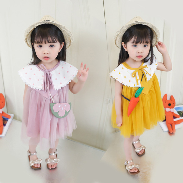 Girls Summer sleeveless Dresses Korean dot shawl beautiful princess dress Girls Detachable collar mesh dress with handbag