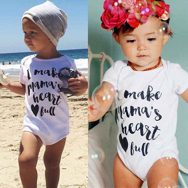 Baby 2018 Summer Shirt Fashion I MAKE MAMA'S HEART Letter Printing Short-sleeved Robe Romper Casual Bag Fart Clothing for Kid