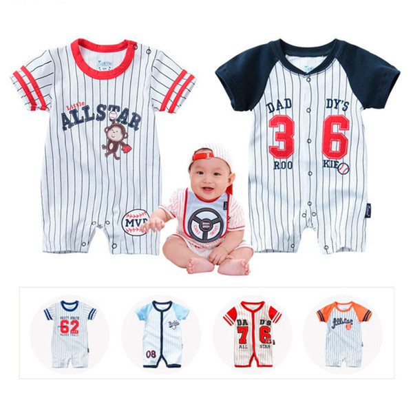 New Infant Rompers Summer Boys Girls Clothes Striped Newborn Baby Jumpsuit Short-sleeved Infant Jumpsuits Clothing Set Bodysuits
