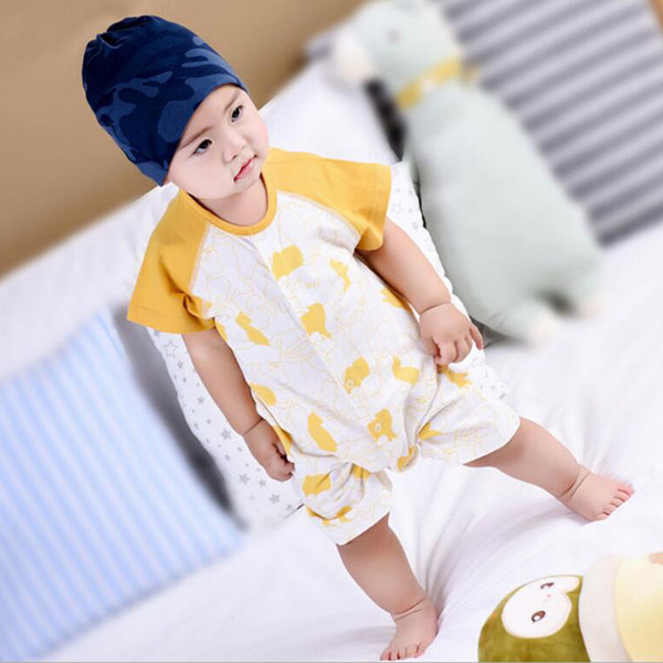 2018 Summer Fashion Baby Rompers Cartoon Khaki Cotton Coverall Half-sleeved Rompers Casual Home Clothes Boys and Girls Onesies